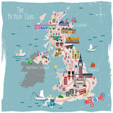 United Kingdom travel map royalty free illustration
