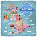 United Kingdom travel map Royalty Free Stock Photography