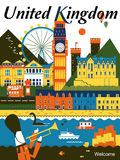 United Kingdom travel poster Stock Photos