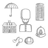United Kingdom travel sketched icons Stock Images