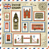 United Kingdom travel stamp collection Stock Photo