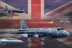 United Kingdom UK air forces bombing strike concept. United Kingdom UK army air planes drop bombs on flag background. 3d Illus. United Kingdom UK bomb air strike Royalty Free Stock Photography