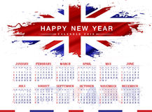 United Kingdom (UK) calendar 2016. Happy new years 2016 with splashes United Kingdom (UK) Flag background Stock Image