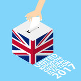 United Kingdom UK General Election 2017. Vector Illustration Flat Style - Hand Putting Voting Paper in the Ballot Box Royalty Free Stock Photography