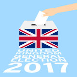 United Kingdom UK General Election 2017. Vector Illustration Flat Style - Hand Putting Voting Paper in the Ballot Box Stock Photos