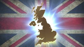 United Kingdom UK map with British flag on background. Stock footage stock video footage