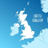 United Kingdom Vector Map. Two-toned Silhouette Version. Rich details for borders, neighbours and islands. Usable for travel marketing, real estate and Stock Photo