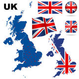 United Kingdom vector set. United Kingdom  set. Detailed country shape with region borders, flags and icons isolated on white background Royalty Free Stock Photography