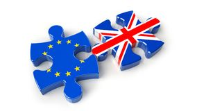 United Kingdom versus Europe puzzle concept. 3D Rendering Royalty Free Stock Photo