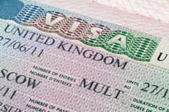 United Kingdom visa in passport Royalty Free Stock Photos