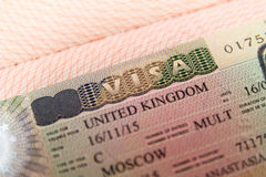 United Kingdom visa in passport Stock Image