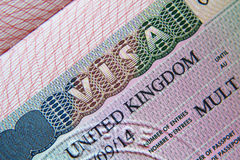 United Kingdom visa in passport Stock Photos