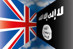 United kingdom vs isis flags Stock Photos