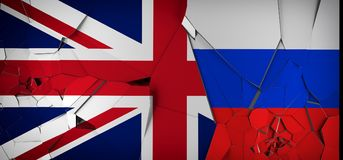 United Kingdom Vs Russia Concept Flags Royalty Free Stock Photos