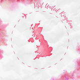 United Kingdom watercolor map in red colors. Royalty Free Stock Photo