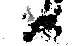 United Kingdom leaves European Union. Video of map of  European Union in black after the United Kingdom has left, that is after BREXIT stock video footage