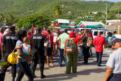 United labor party supporters gathering at Bequia's ferry jetty stock photo