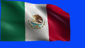 United Mexican States, Estados Unidos Mexicanos, flag of Mexico - LOOP. Beautiful 3d flag animation on green/blue screen in 4k format - seamless looped stock video