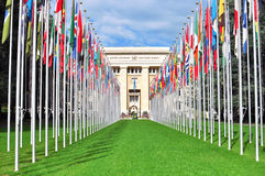 United Nation building in Geneva. GENEVA - SEPTEMBER 3, 2015: View of the United Nation building in Geneva on September 3, 2015. Geneva is the second largest Stock Photos