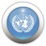 United Nation Flag Aqua Button. United Nations Flag Aqua Glass Button Royalty Free Stock Photography