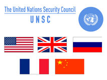The united nation security council, UNSC. Flags of the united nation security council members Royalty Free Stock Image