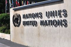 The United Nation sign in Geneva. GENEVA, SWITZERLAND - SEPTEMBER 3: The United Nation sign in Geneva on September 3, 2015. Geneva is the second largest city of Royalty Free Stock Image
