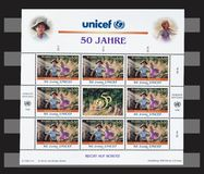 United Nation UNICEF 50 Years stamps. United Nation sheet of stamps Royalty Free Stock Photo