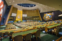 United Nations. NEW YORK CITY, USA - MAY 21, 2012: The United Nations General Assembly Hall. It is the only organ of the U.N. in which all member nations have Royalty Free Stock Photography