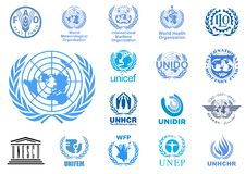 United Nations agencies logos. Vector logos of the most important United Nations agencies. Additional Vector file available for single elements usage Royalty Free Stock Photography