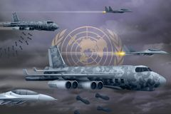 United Nations air forces bombing strike concept. United Nations army air planes drop bombs on flag background. 3d Illustration. United Nations bomb air strike Stock Images