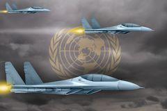 United Nations air forces strike concept. Air planes attack on United Nations flag background. 3d Illustration. United Nations air strike concept. Modern war Stock Images