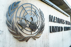 United Nations Badge in Geneva. United Nations Badge at the front entrance of the Palais des Nations in Geneva, Switzerland Stock Photography