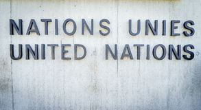 United Nations Badge in Geneva. United Nations Badge at the front entrance of the Palais des Nations in Geneva, Switzerland Stock Image