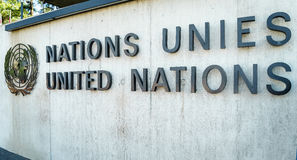 United Nations Badge in Geneva Stock Image