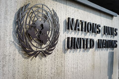 United Nations Badge in Geneva. United Nations Badge at the front entrance of the Palais des Nations in Geneva, Switzerland