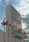 United Nations Building and Flags NYC USA Stock Photos