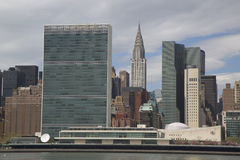 The United Nations building and Chrysler building in midtown Manhattan Stock Photos