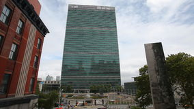 The United Nations building in Manhattan stock footage