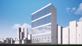 United Nations building in New York seamless footage stock footage