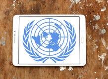 United Nations, emblema do logotipo do UN imagem de stock