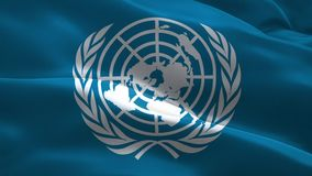 United Nations Flag. 3d realistic wavy United Nations flag stock video