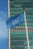 United Nations Flag in front of UN Headquarter in  Royalty Free Stock Images