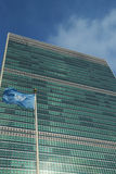 United Nations Flag in front of UN Headquarter in New York Stock Photo