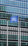 United Nations Flag in front of UN Headquarter in New York Stock Image