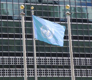 United Nations Flag in the front of UN Headquarter in New York Stock Photos