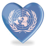 United Nations flag heart shape Stock Photo