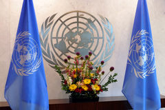 United Nations Flag in office of UN Headquarter in New York Stock Photography