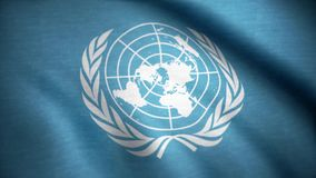 United Nations flag. The United Nations flag waving in the wind. International flag of UN.  stock video footage