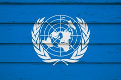United Nations flag on wood. In hi res image royalty free stock image