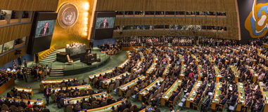 United Nations General Assembly in New York. NEW YORK, USA - Sep 20, 2016: UN Secretary General Ban Ki-moon at the opening of the 71st session of the United stock photography